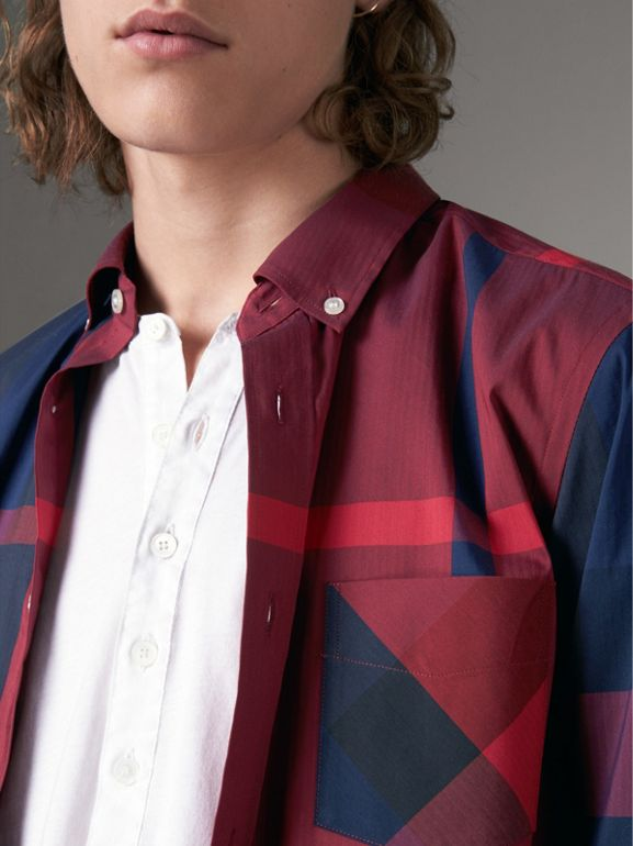 Button-down Collar Check Stretch Cotton Blend Shirt in Parade Red - Men | Burberry - cell image 1