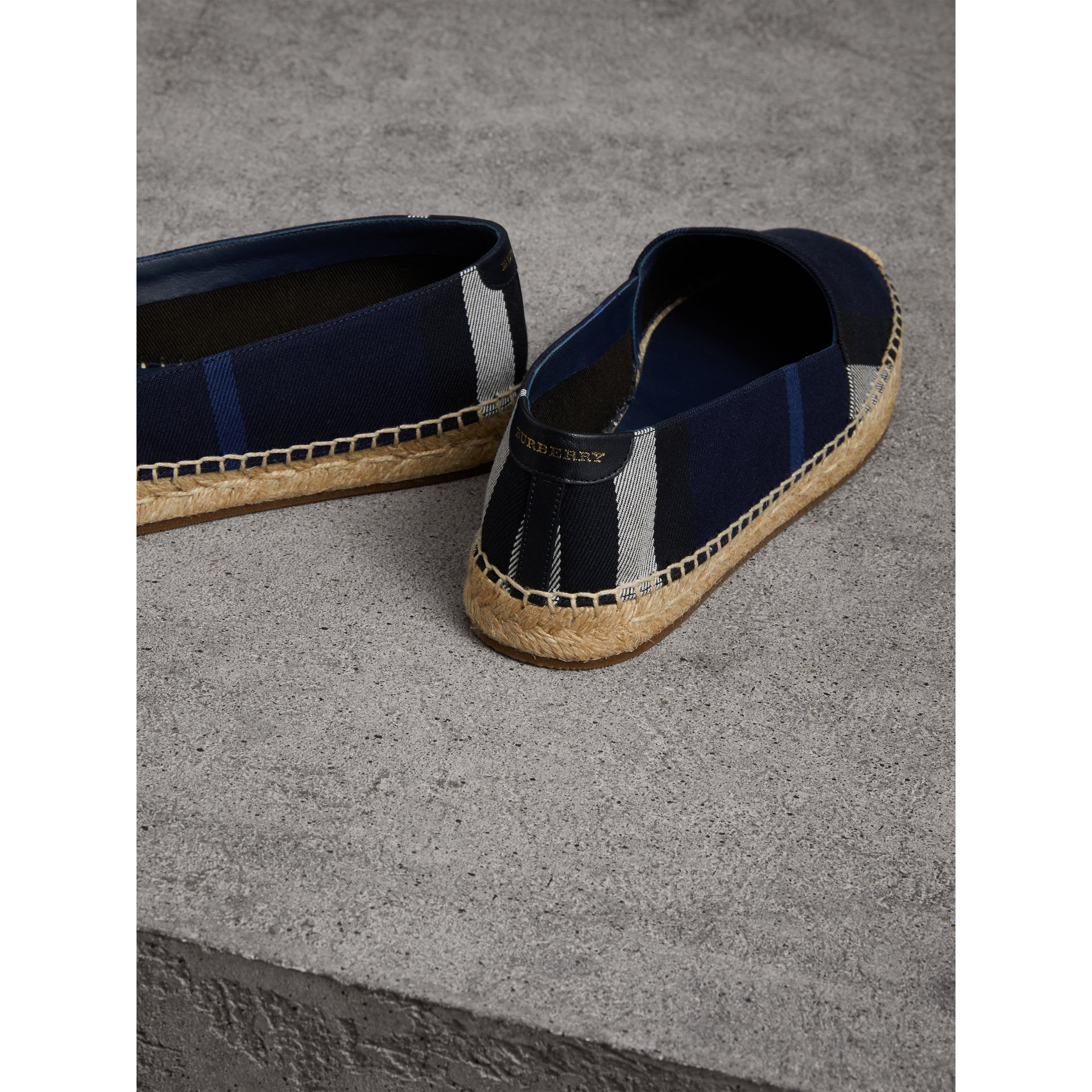 Check Cotton Espadrilles in Indigo Blue - Women | Burberry - gallery image 4
