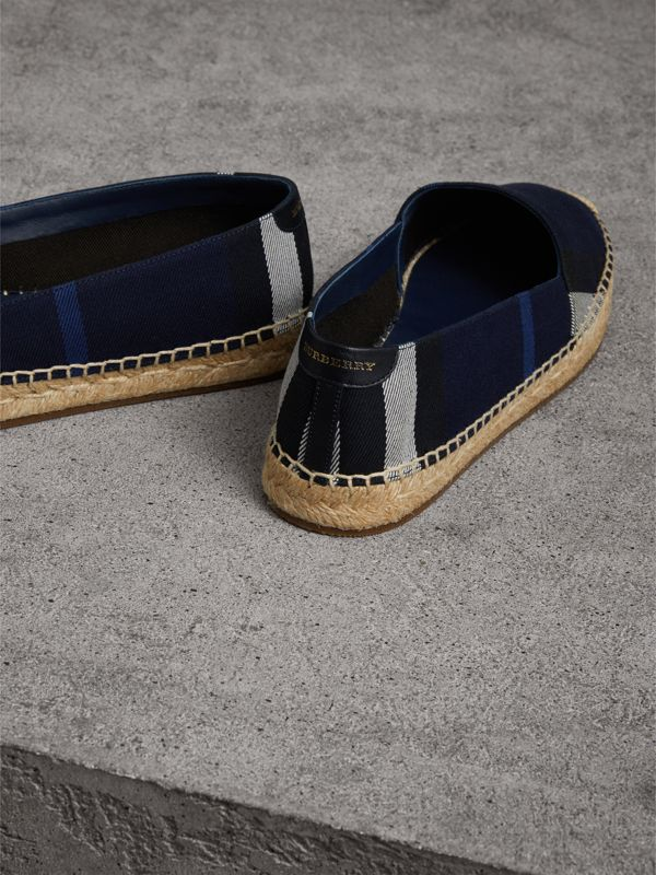 Check Cotton Espadrilles in Indigo Blue - Women | Burberry - cell image 3