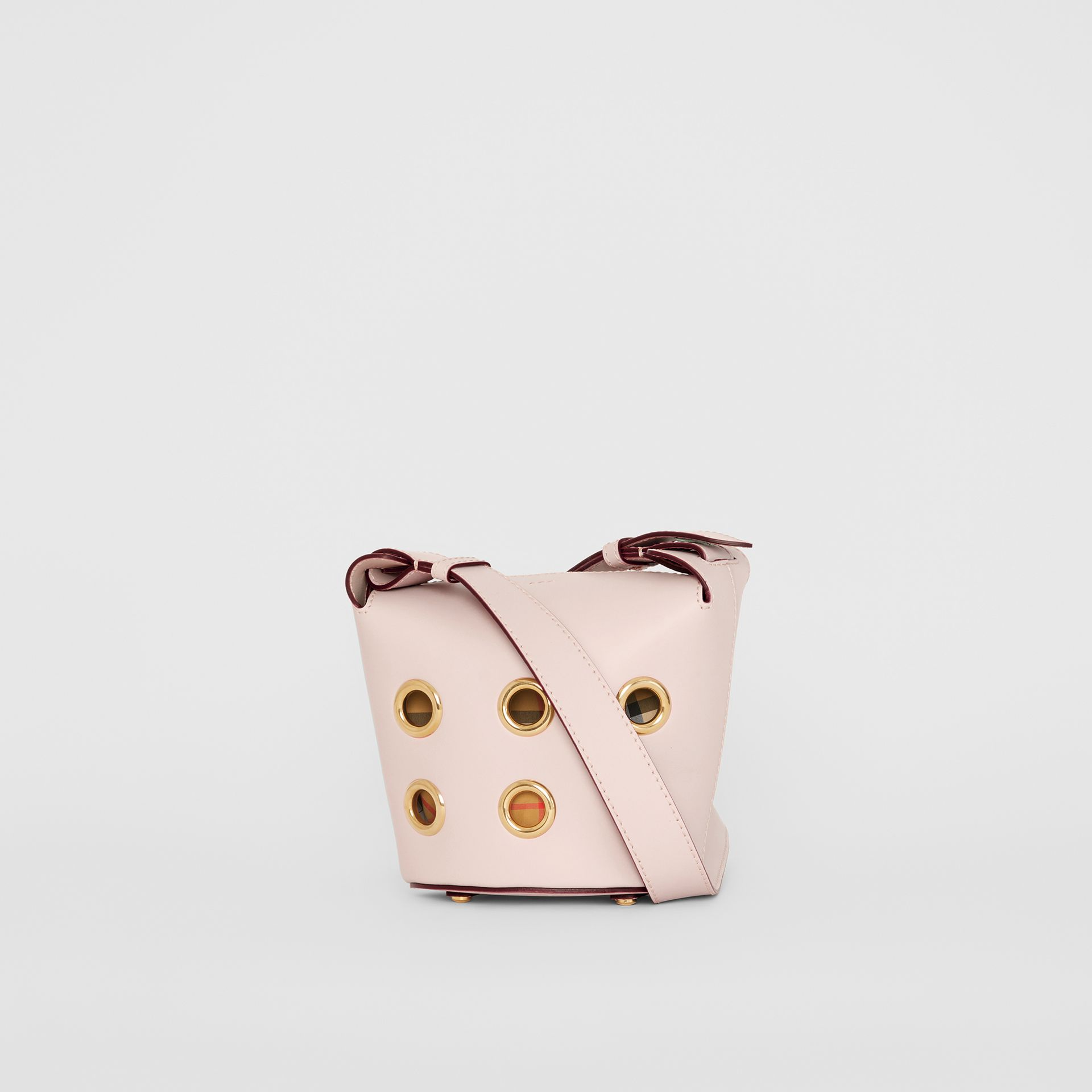 The Mini Bucket Bag in Grommeted Leather in Chalk Pink - Women | Burberry United Kingdom - gallery image 7