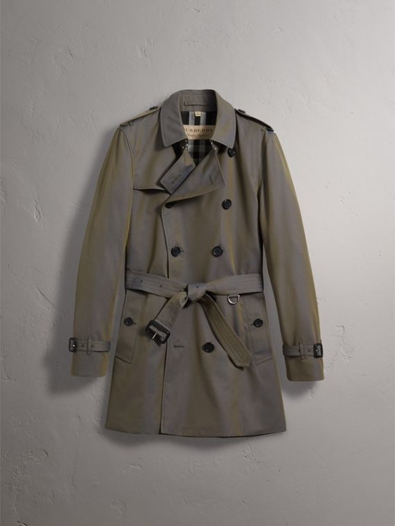 Cotton Gabardine Trench Coat in Storm Blue - Men | Burberry Australia - cell image 2