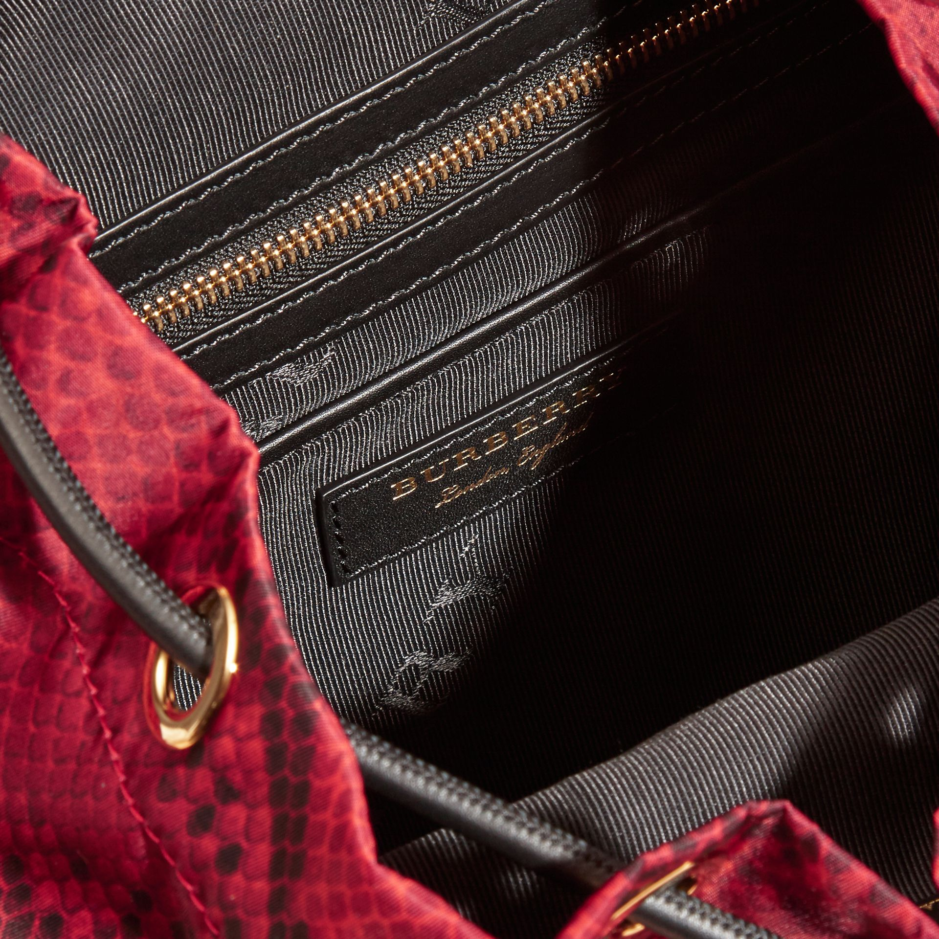 The Medium Rucksack in Python Print Nylon and Leather Burgundy Red - gallery image 5
