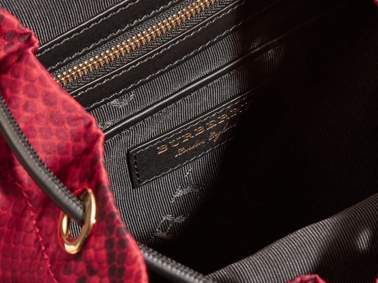 The Medium Rucksack in Python Print Nylon and Leather Burgundy Red - cell image 4