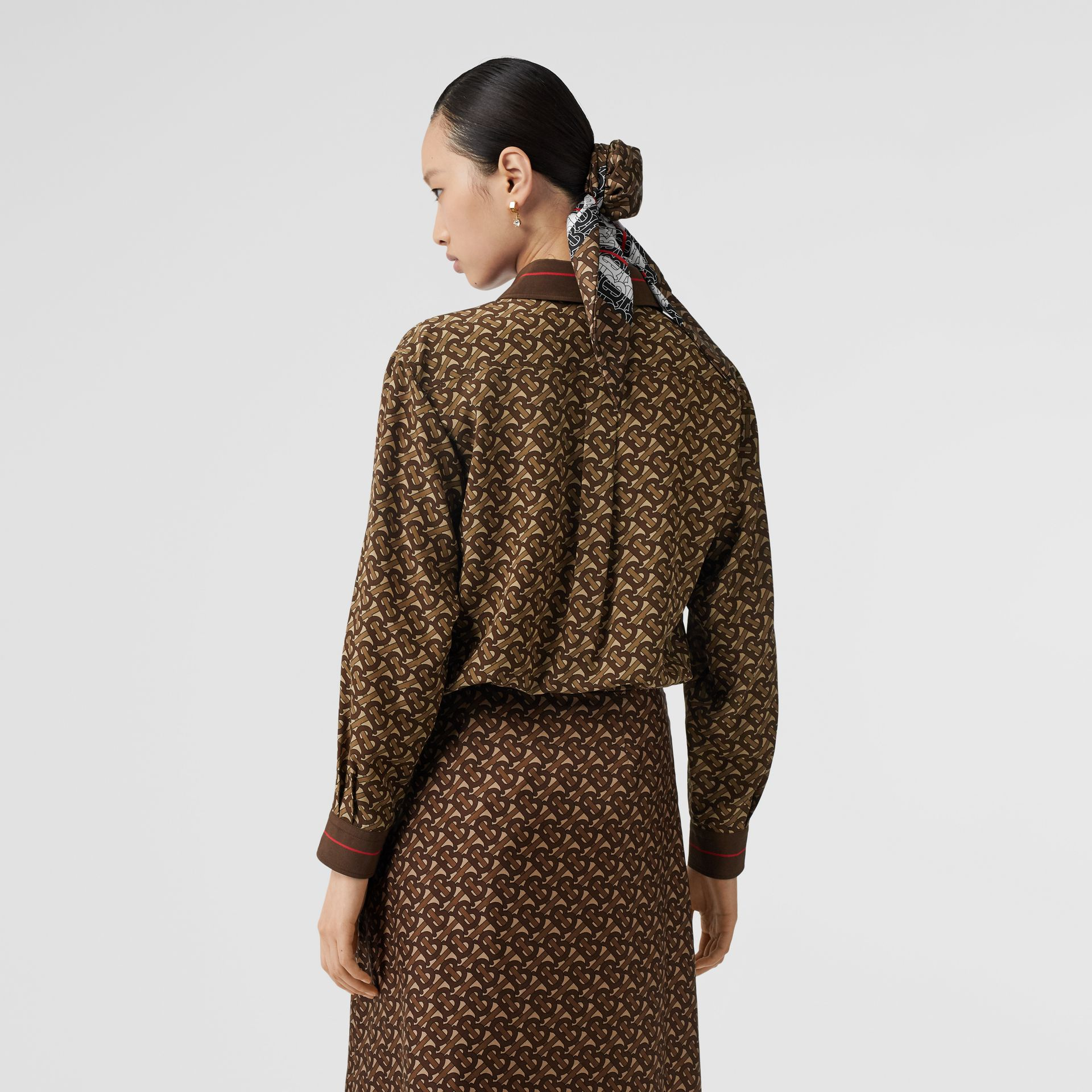 Monogram Stripe Print Silk Oversized Shirt in Bridle Brown - Women | Burberry United Kingdom - gallery image 2