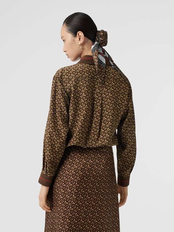 Monogram Stripe Print Silk Oversized Shirt in Bridle Brown - Women | Burberry - cell image 2