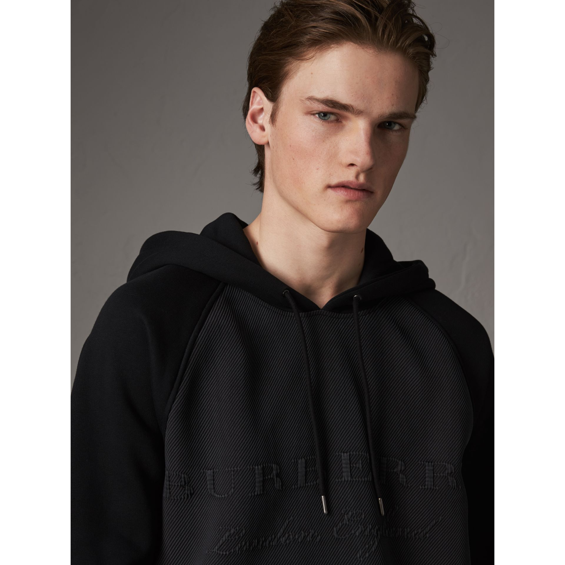 Silk Blend Panel Detail Jersey Hooded Top in Black - Men | Burberry - gallery image 1