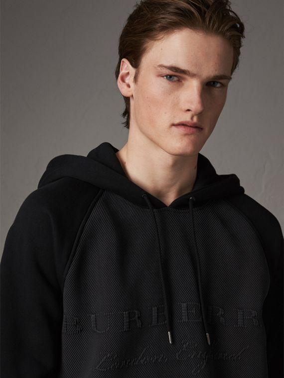 Silk Blend Panel Detail Jersey Hooded Top in Black
