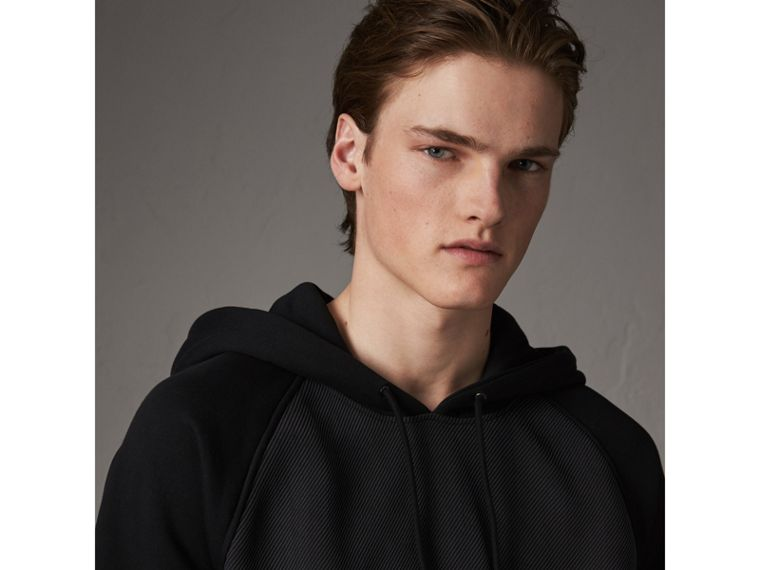 Silk Blend Panel Detail Jersey Hooded Top in Black - Men | Burberry - cell image 1