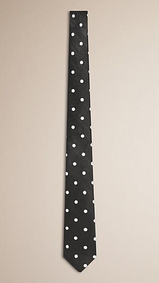 Cravate fine en soie et lin à pois