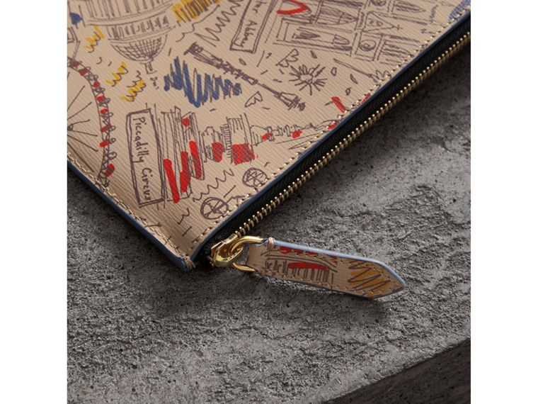 London Print Leather Zip Pouch in Multicolour | Burberry - cell image 1
