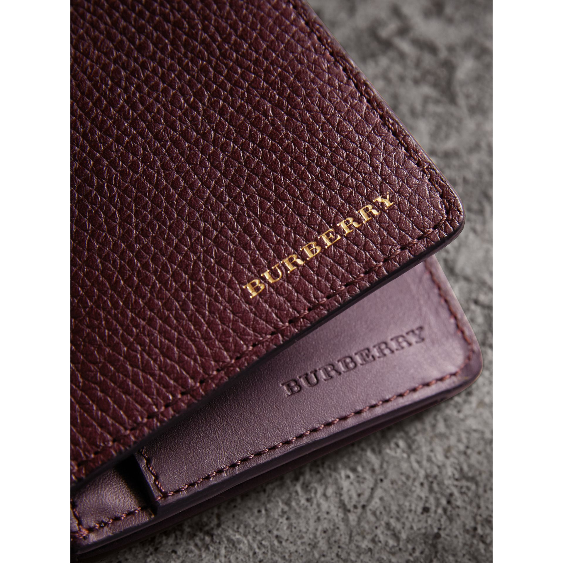House Check and Grainy Leather Continental Wallet in Wine | Burberry - gallery image 5