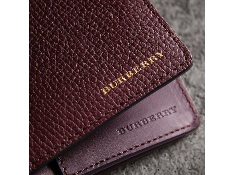 House Check and Grainy Leather Continental Wallet in Wine | Burberry - cell image 4