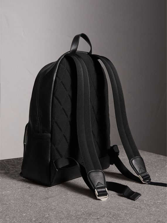 Grainy Leather Backpack in Black - Men | Burberry Canada - cell image 3