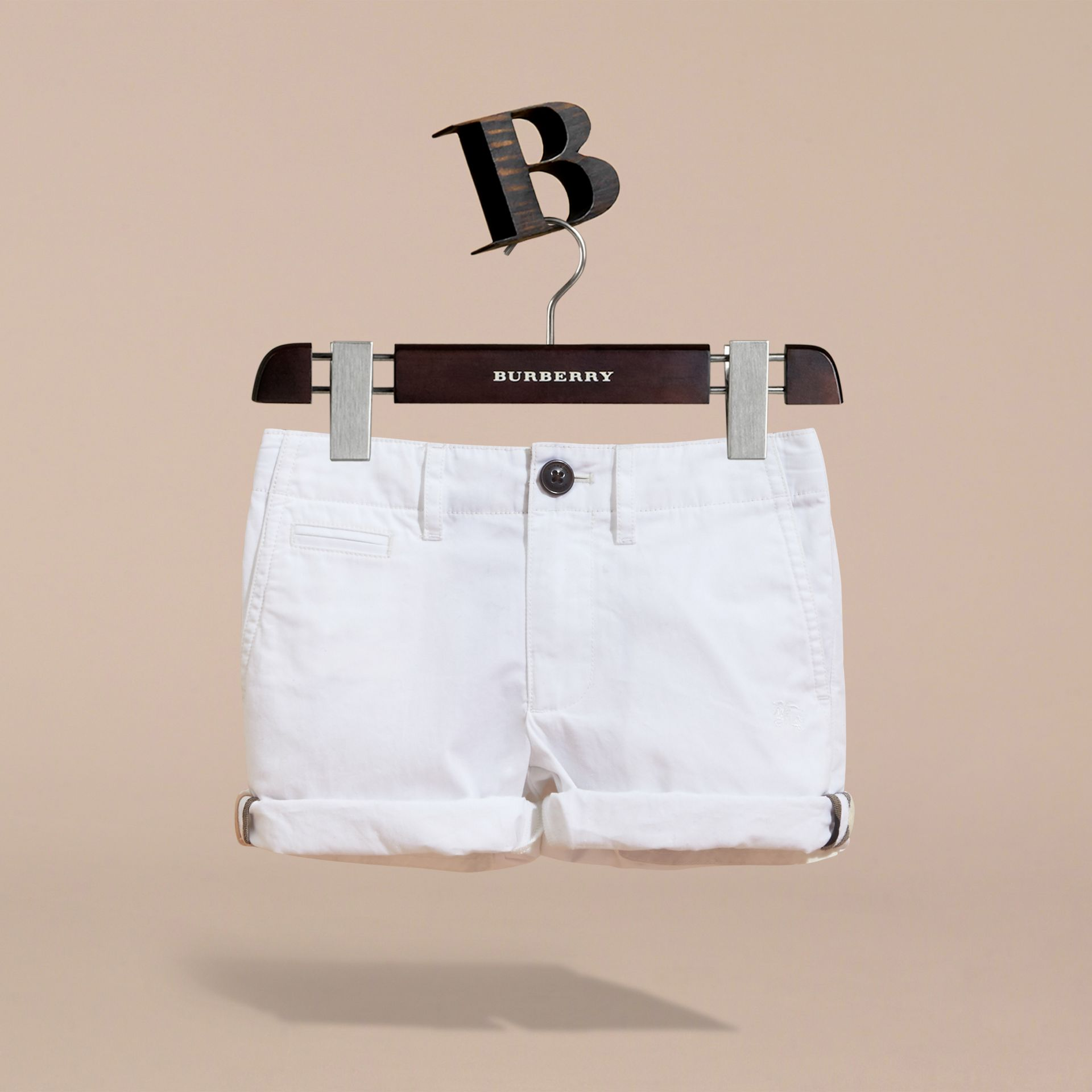 Check Detail Cotton Chino Shorts in White | Burberry - gallery image 3
