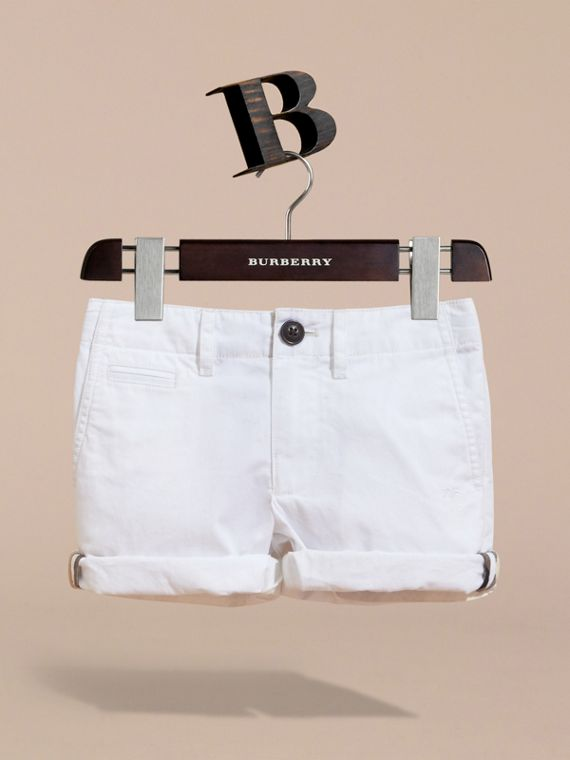 Check Detail Cotton Chino Shorts in White | Burberry - cell image 2