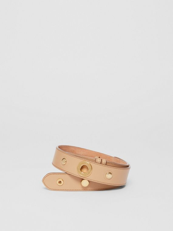 Triple Stud Leather Belt in Honey