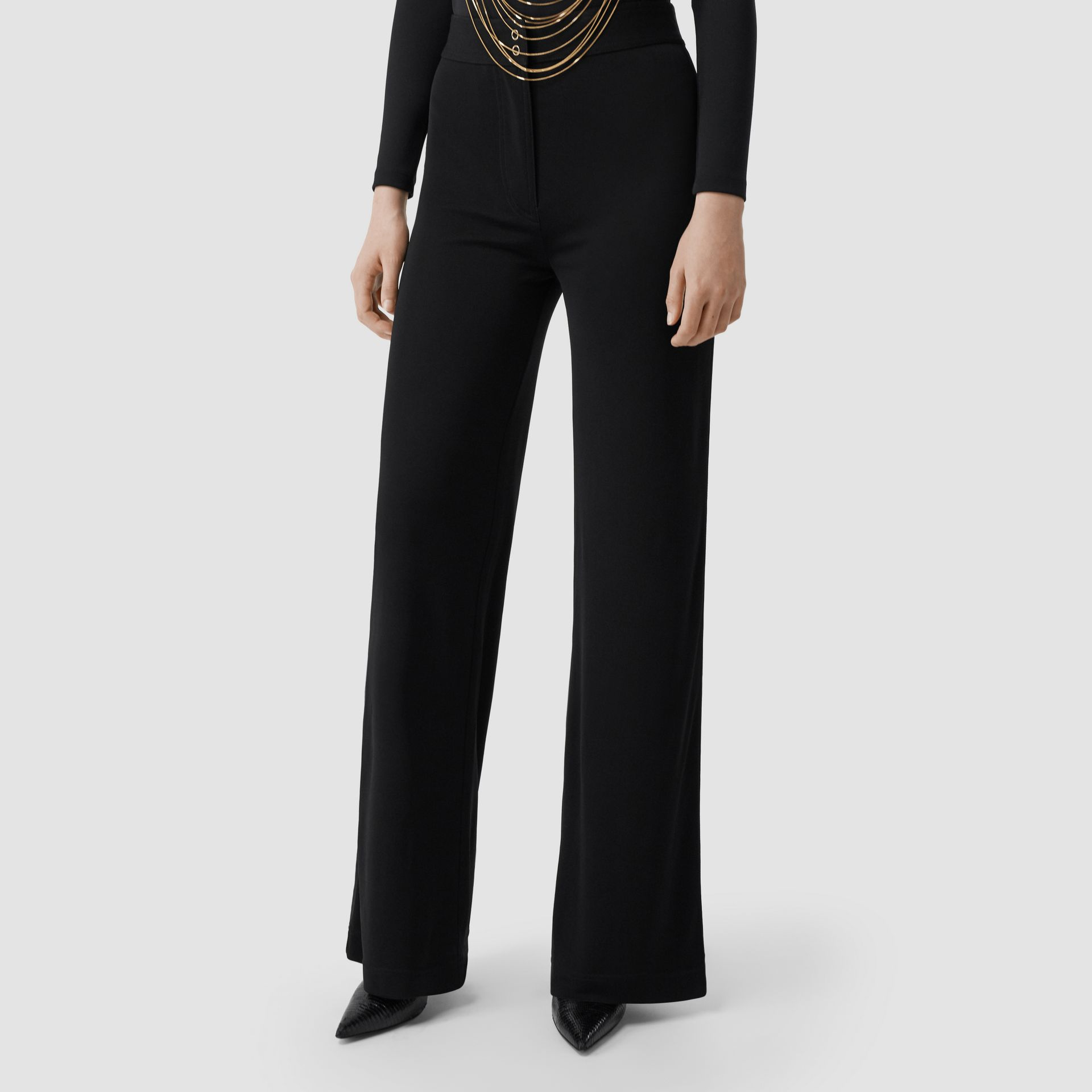 Jersey Wide-leg Trousers in Black - Women | Burberry United Kingdom - gallery image 5