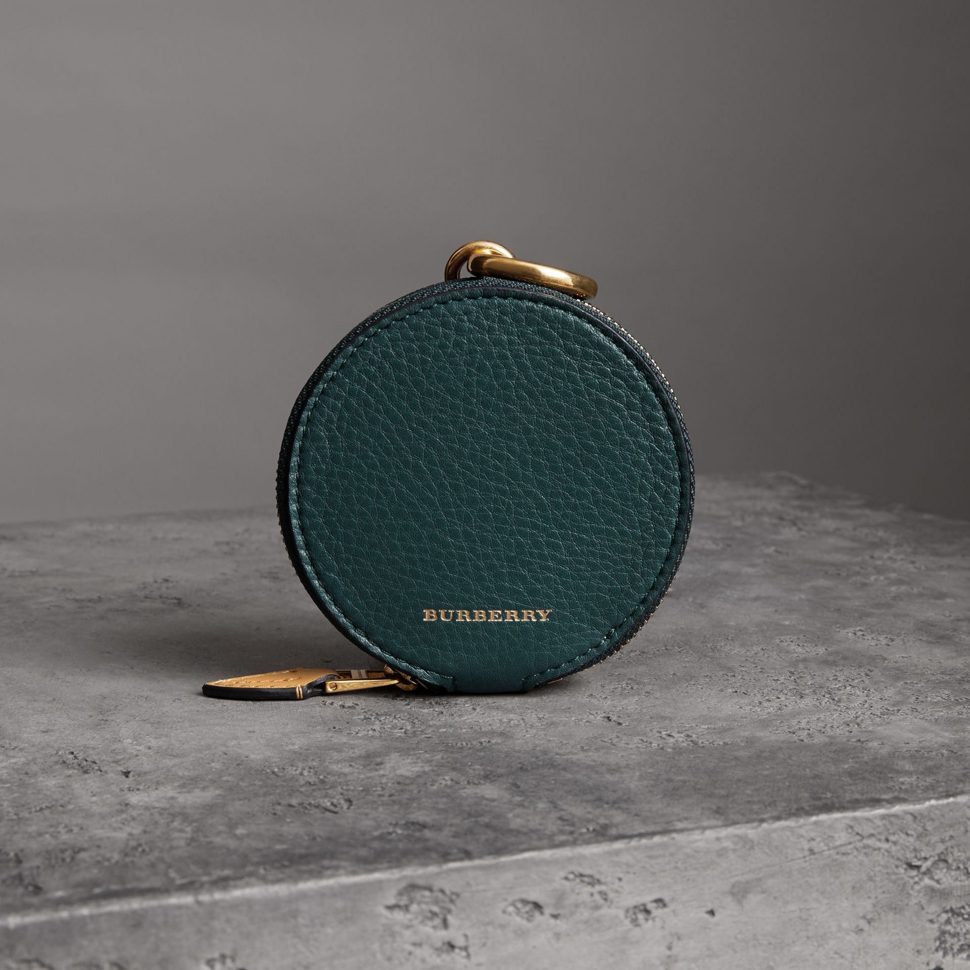 Small Round Leather Coin Case in Dark Cyan/cornflower Yellow | Burberry Singapore - gallery image 0