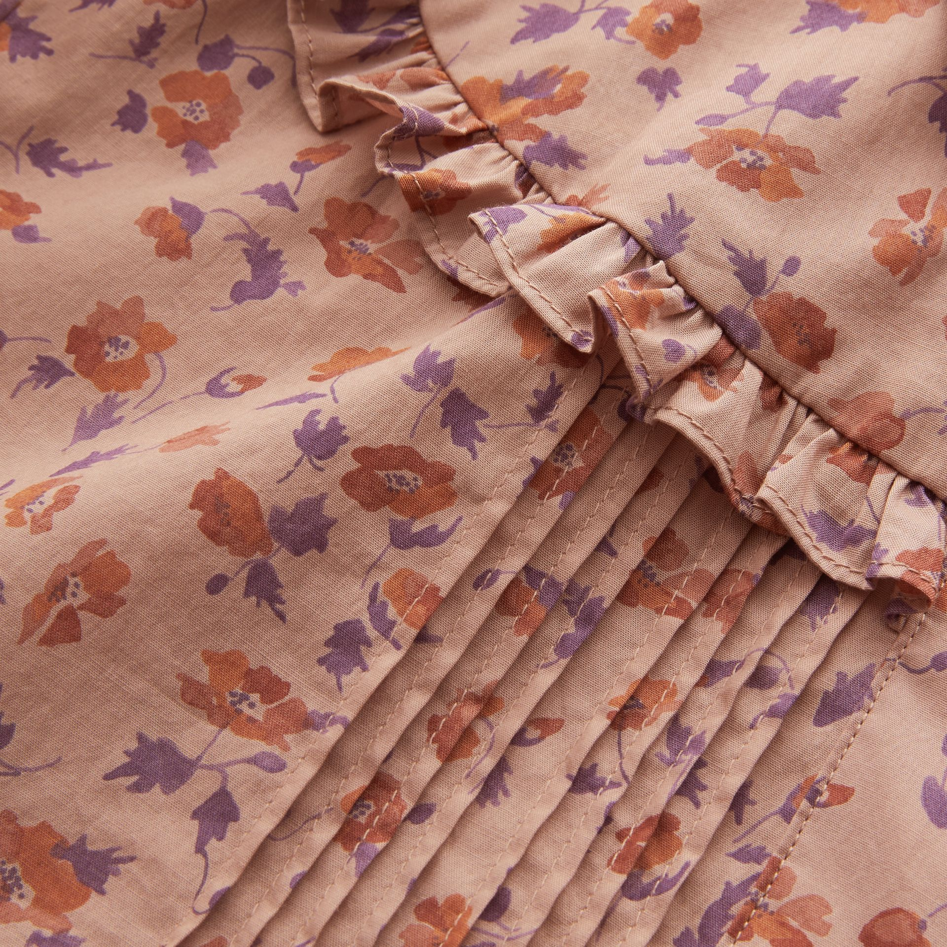 Ruffle Yoke Floral Print Cotton Shirt in Light Copper - Women | Burberry - gallery image 2