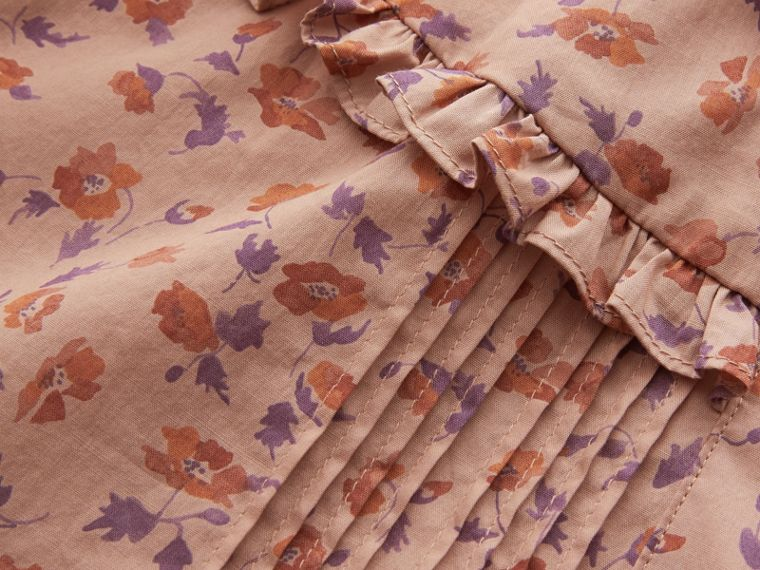 Ruffle Yoke Floral Print Cotton Shirt in Light Copper - Women | Burberry - cell image 1