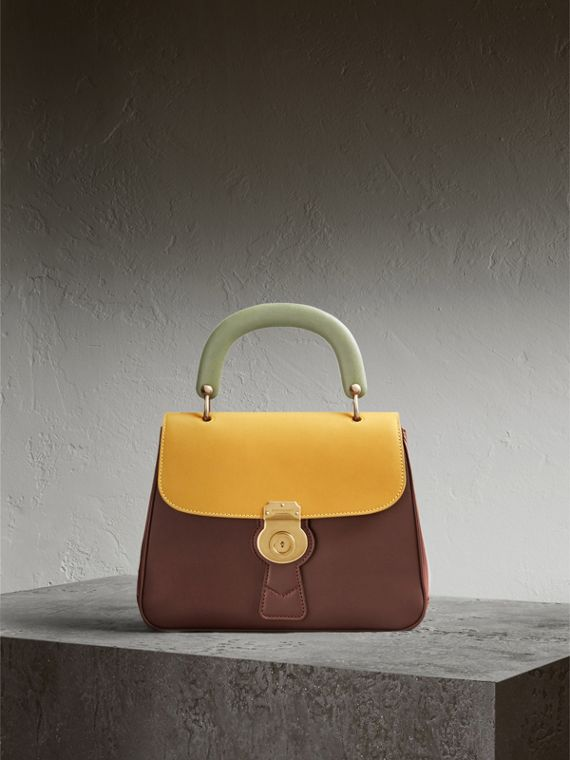 The Medium DK88 Top Handle Bag Dark Chocolate/ochre Yellow