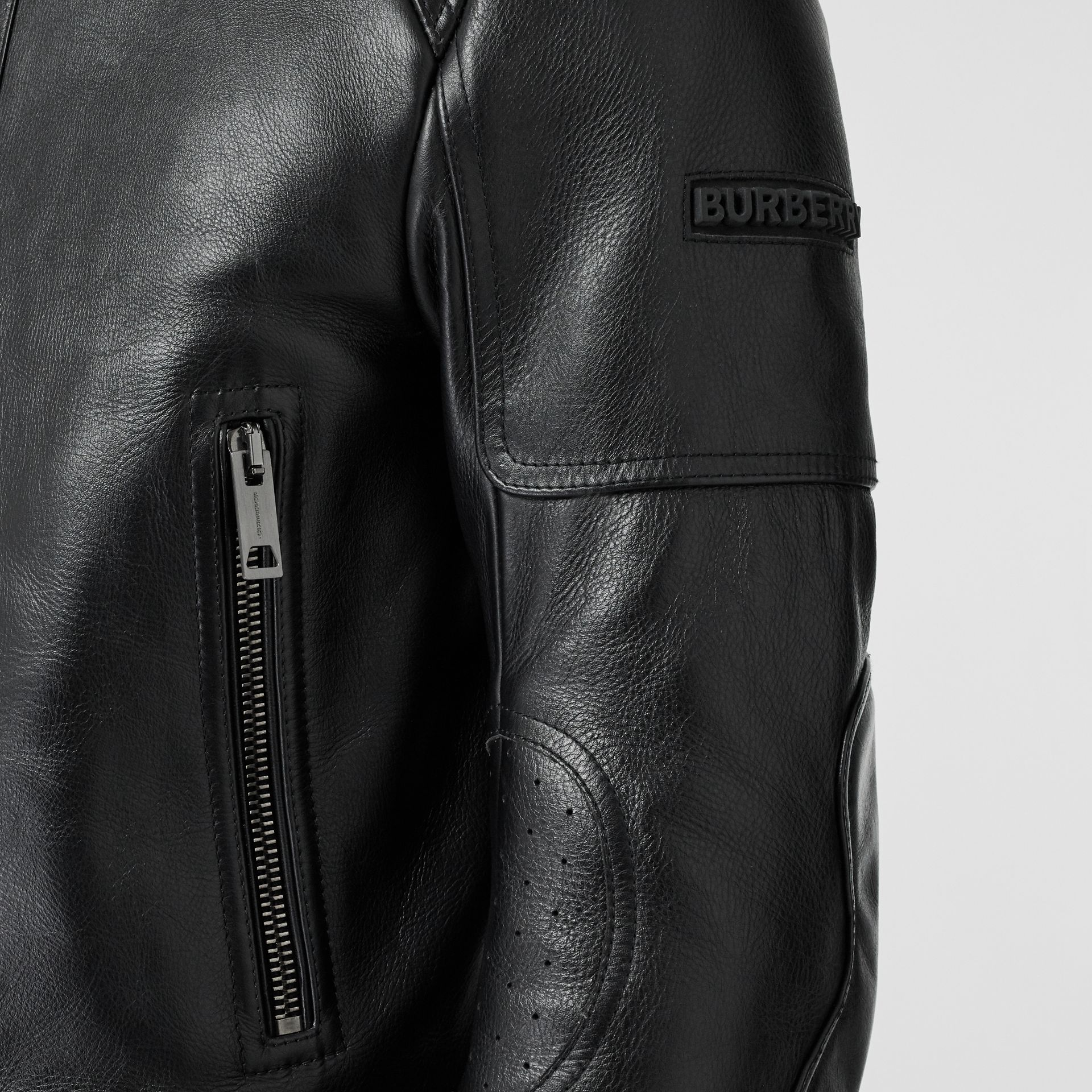 Leather Bomber Jacket in Black - Men | Burberry Singapore - gallery image 4