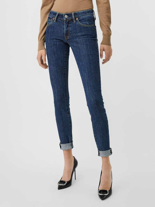 Skinny Fit Japanese Denim Jeans in Blue - Women | Burberry United States - cell image 3