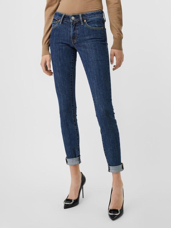 Calças de tecido jeans japonês com corte skinny (Azul) - Mulheres | Burberry - cell image 3