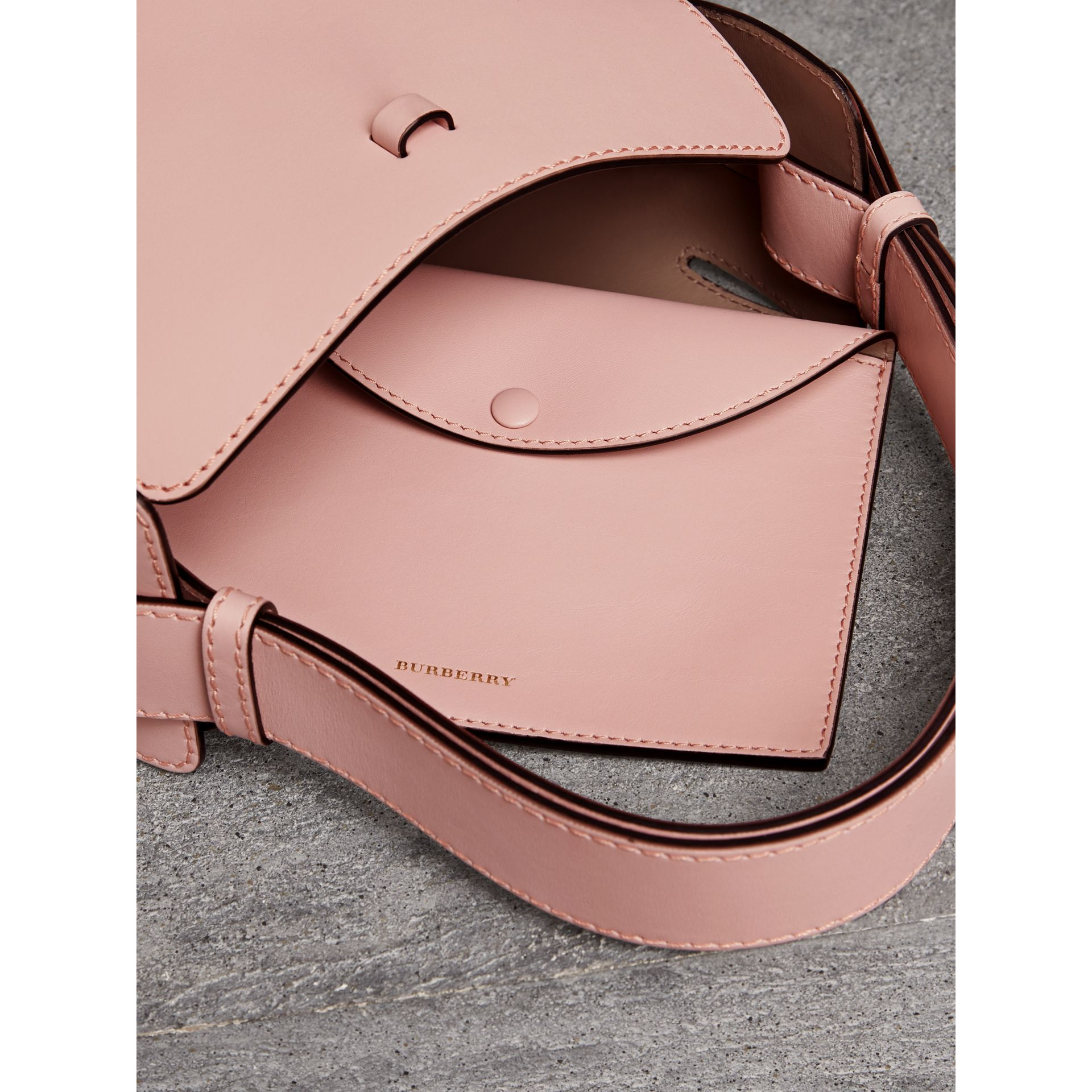 The Small Leather Bucket Bag in Pale Ash Rose - Women | Burberry United Kingdom - gallery image 4