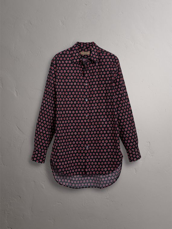 Spot Print Cotton Shirt in Parade Red - Men | Burberry United Kingdom - cell image 3