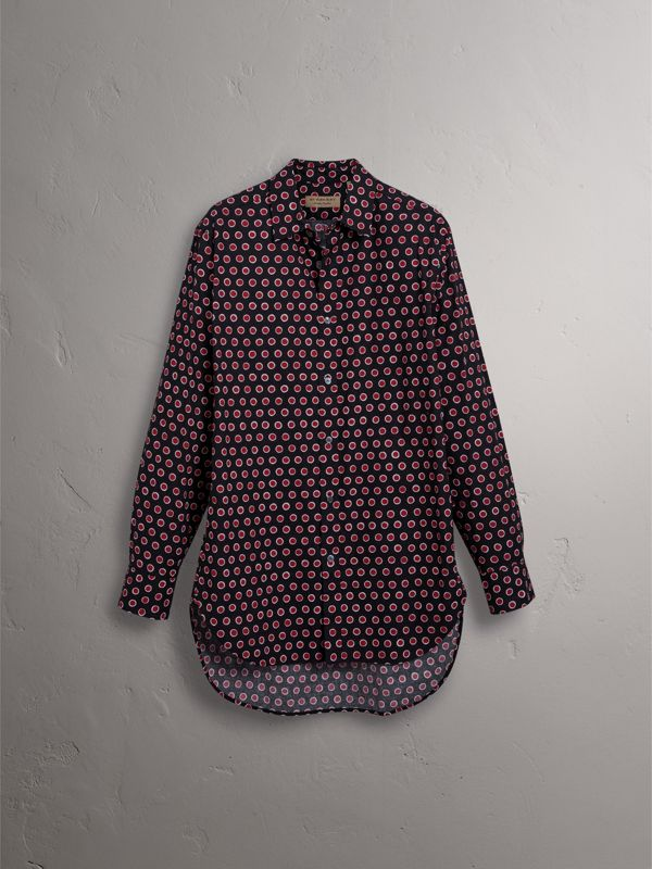 Spot Print Cotton Shirt in Parade Red - Men | Burberry - cell image 3