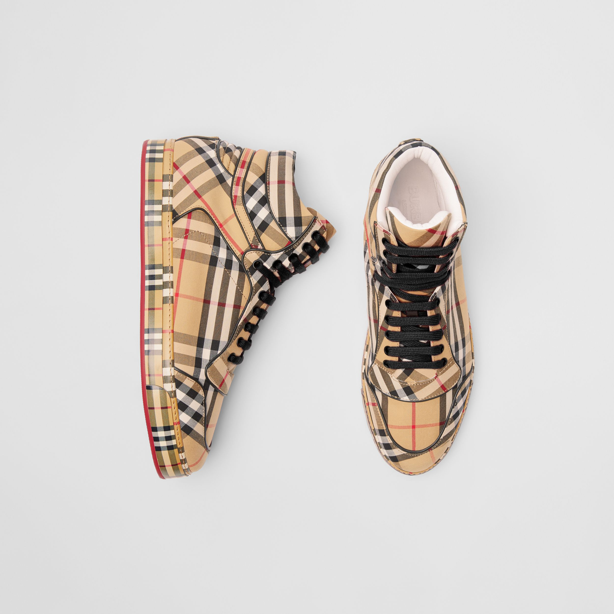 Vintage Check Cotton High-top Sneakers in Antique Yellow - Men | Burberry - 1