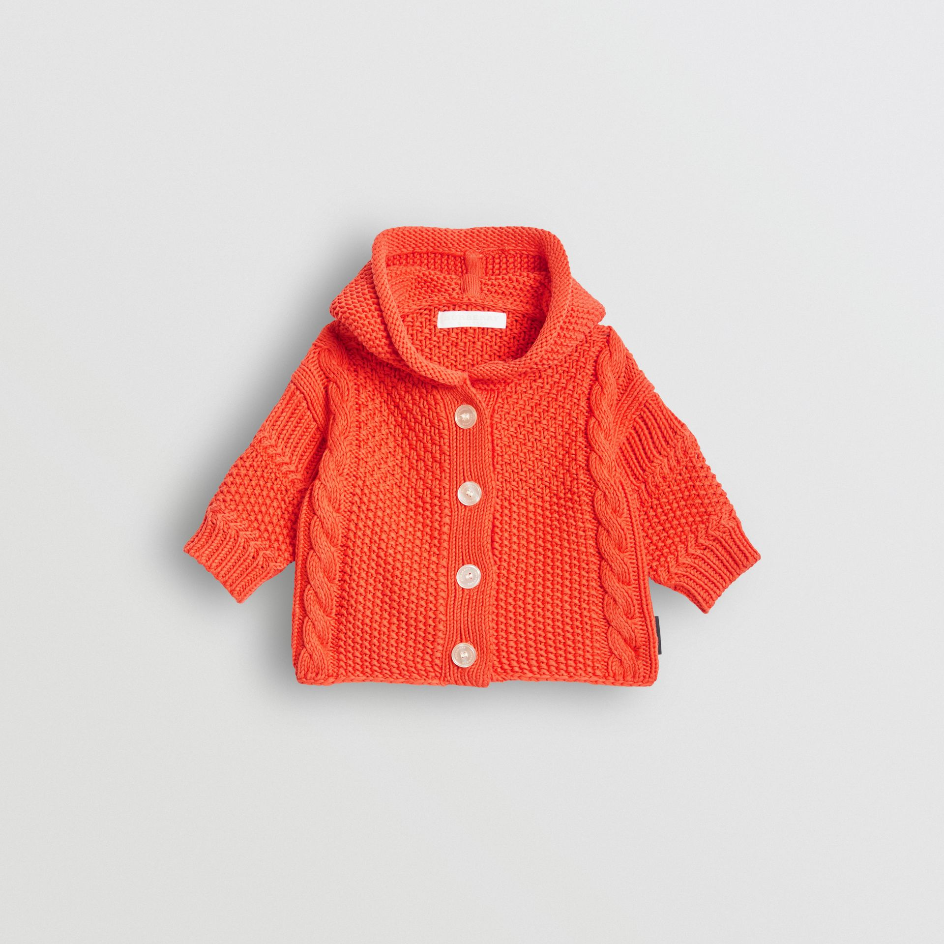Contrast Knit Cotton Hooded Jacket in Orange Red - Children | Burberry - gallery image 0