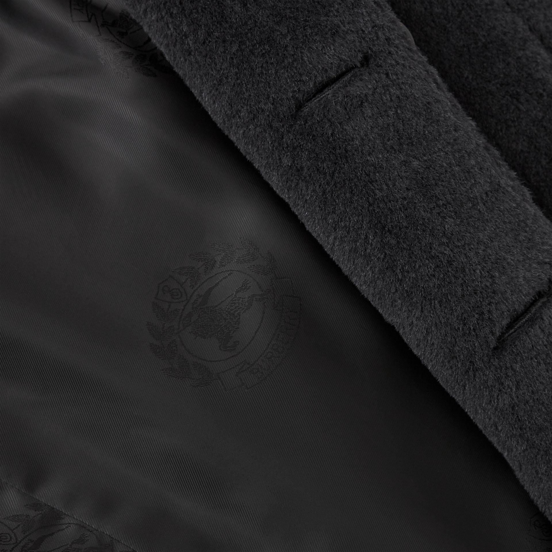 Alpaca Wool Cotton Double-breasted Coat in Charcoal - Men | Burberry - gallery image 7