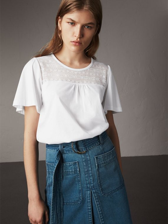 Lace Panel Cotton T-shirt in White