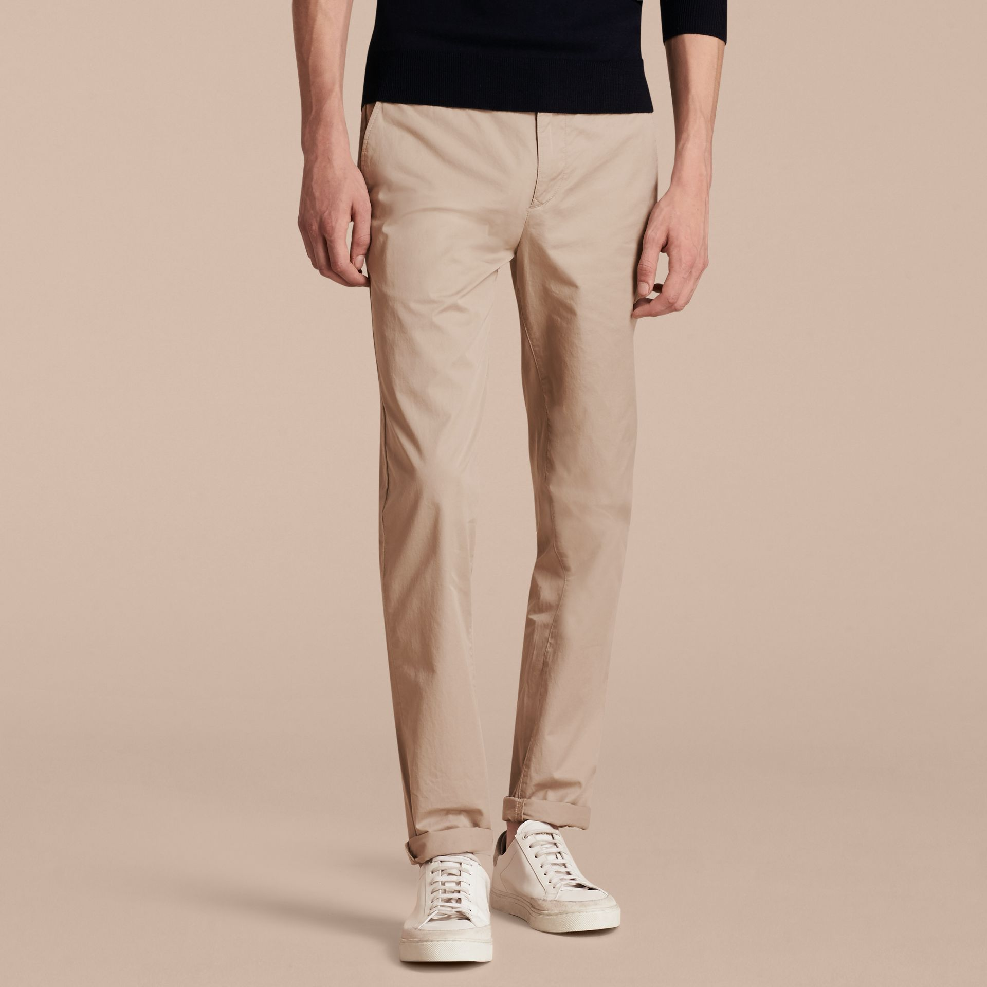 Slim Fit Cotton Chinos in Taupe - Men | Burberry - gallery image 7