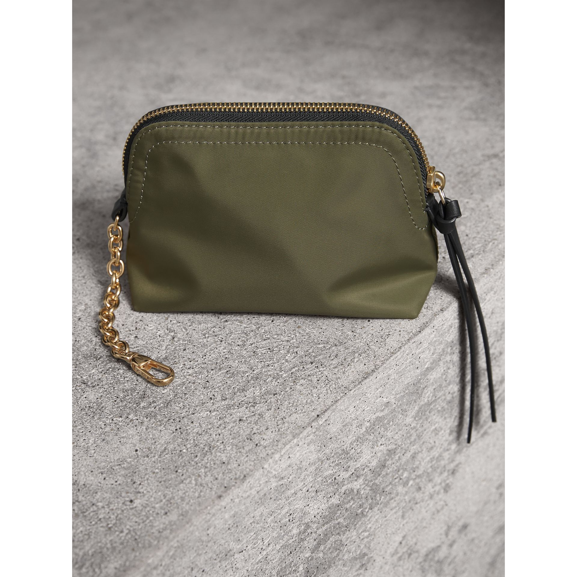 Small Zip-top Technical Nylon Pouch in Canvas Green - Women | Burberry United Kingdom - gallery image 3