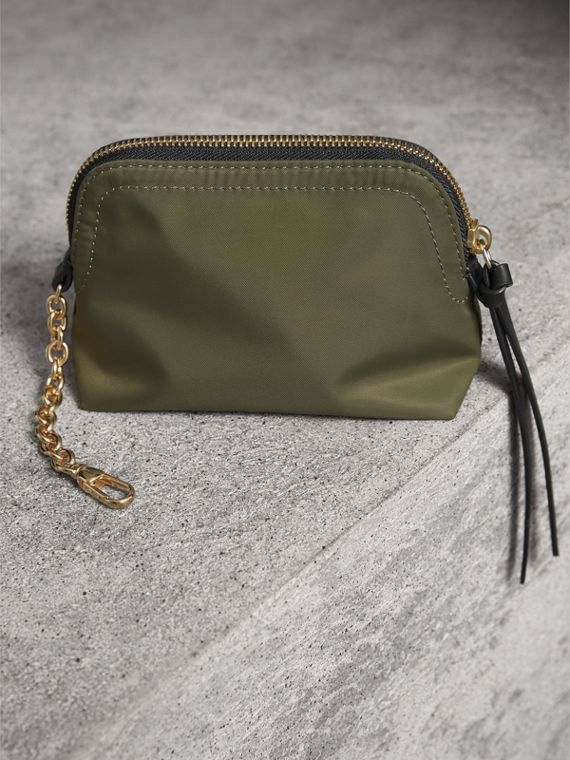Small Zip-top Technical Nylon Pouch in Canvas Green - Women | Burberry United Kingdom - cell image 2