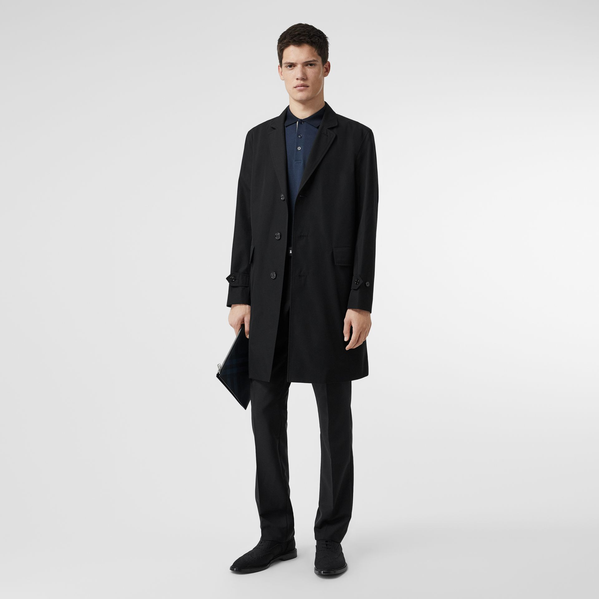 Cotton Gabardine Car Coat in Black - Men | Burberry - gallery image 0