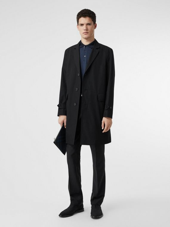 Car coat in gabardine di cotone (Nero)