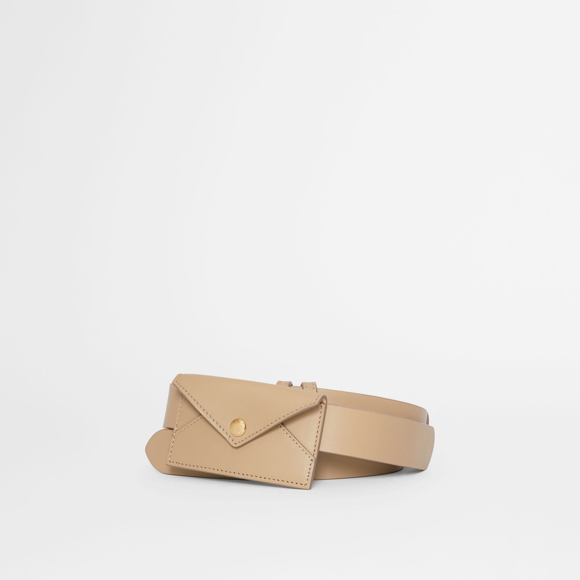 Envelope Detail Leather Belt in Latte - Women | Burberry - gallery image 0