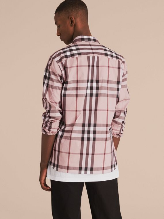 Check Stretch Cotton Shirt in Chalk Pink - Men | Burberry - cell image 2