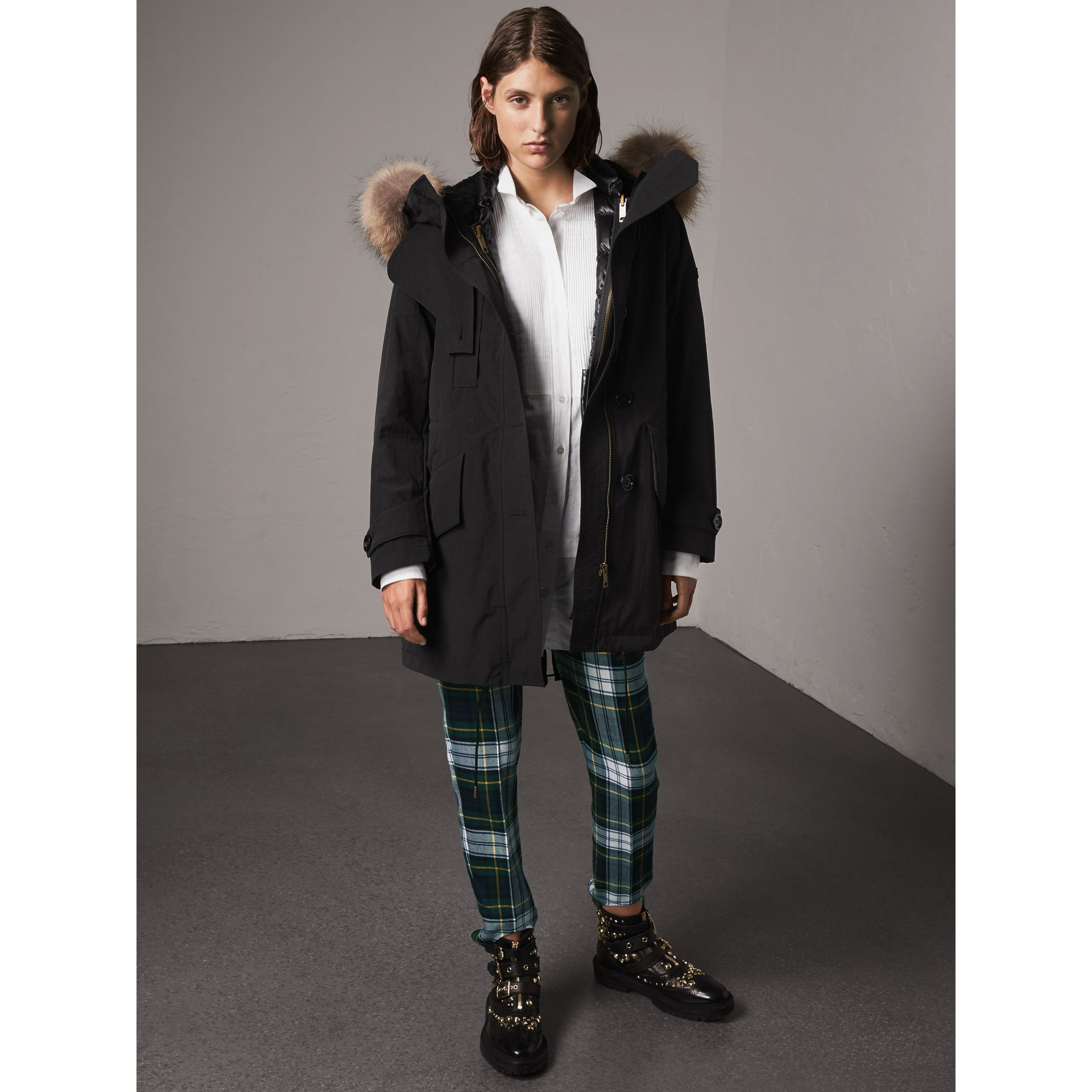 Raccoon Fur and Shearling Trim Parka with Warmer in Black - Women | Burberry United Kingdom - gallery image 1