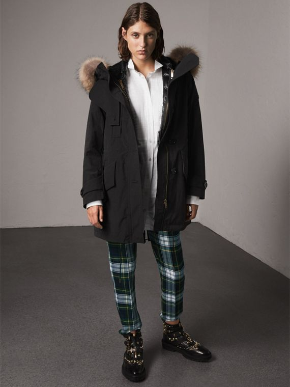 Raccoon Fur and Shearling Trim Parka with Warmer in Black