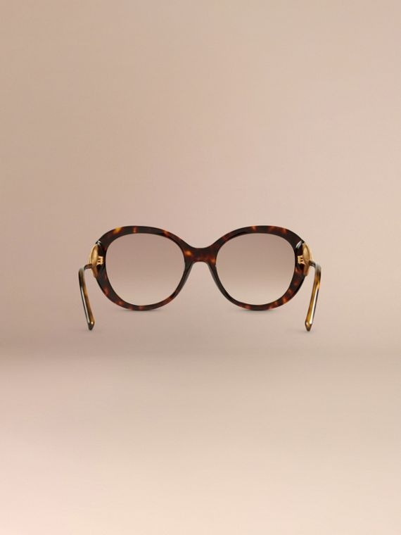 Oversize Round Frame Sunglasses in Ebony - Women | Burberry - cell image 3