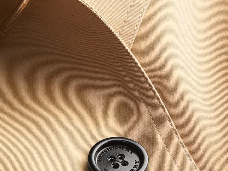 Miel Trench-coat en gabardine de coton avec col amovible en fourrure de raton laveur - cell image 1