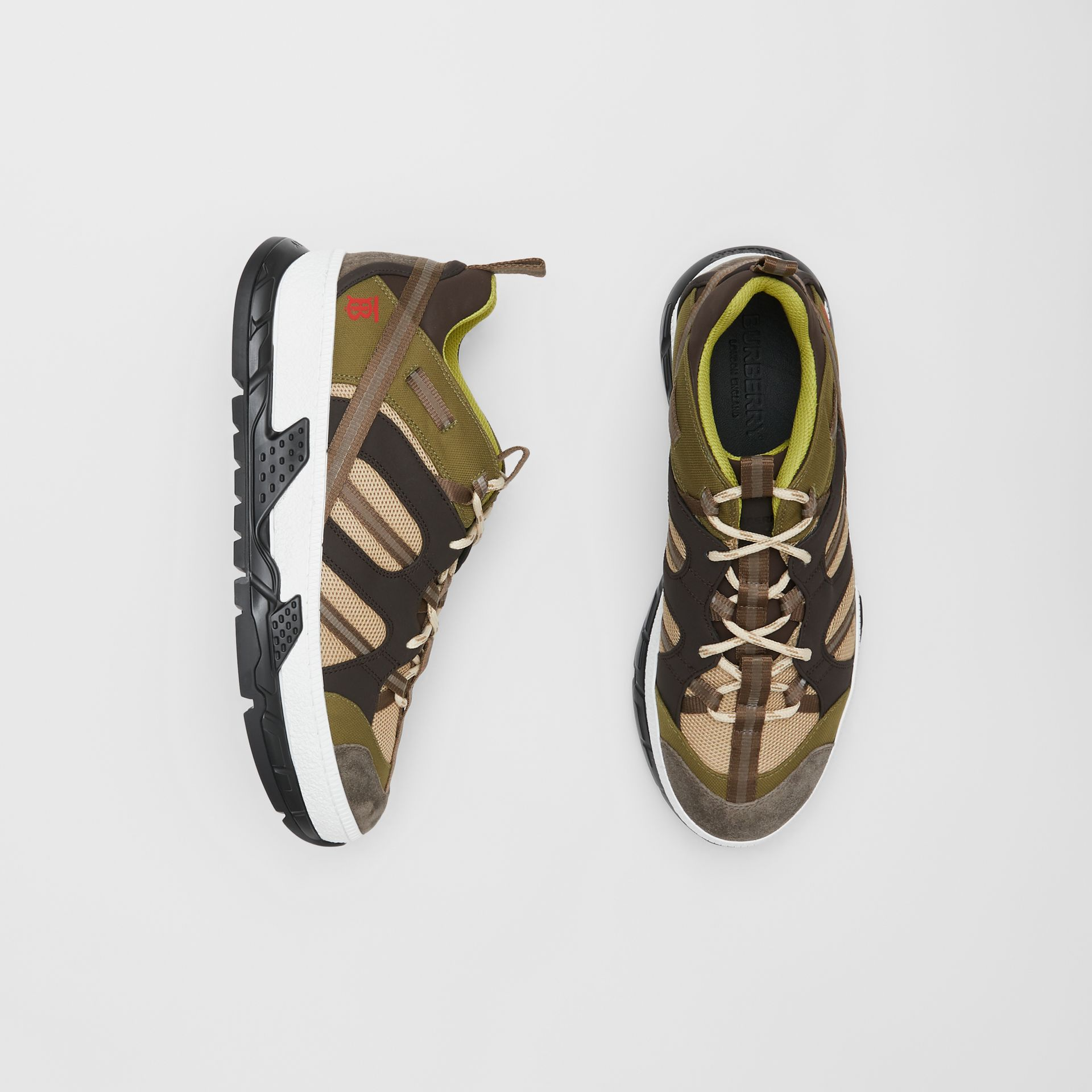 Mesh and Suede Union Sneakers in Khaki / Brown - Men | Burberry Australia - gallery image 0