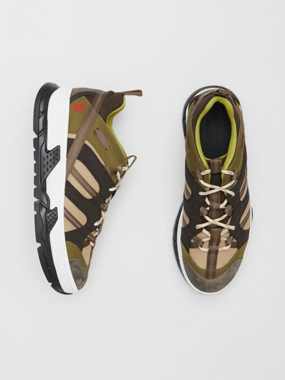 Mesh and Suede Union Sneakers in Khaki / Brown