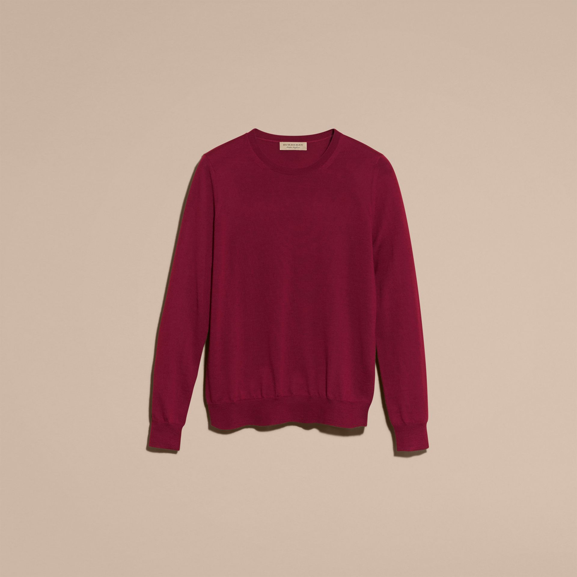 Crimson Check Detail Merino Wool Crew Neck Sweater Crimson - gallery image 4