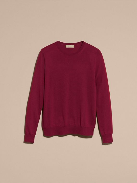 Crimson Check Detail Merino Wool Crew Neck Sweater Crimson - cell image 3